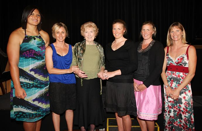 Barbara with (from left) Valerie Adams, Sarah Ulmer, Yvette Williams, Georgina Earl and Caroline Meyer when attending a dinner in 2010 to celebrate New Zealand's six female Olympic gold medallists.