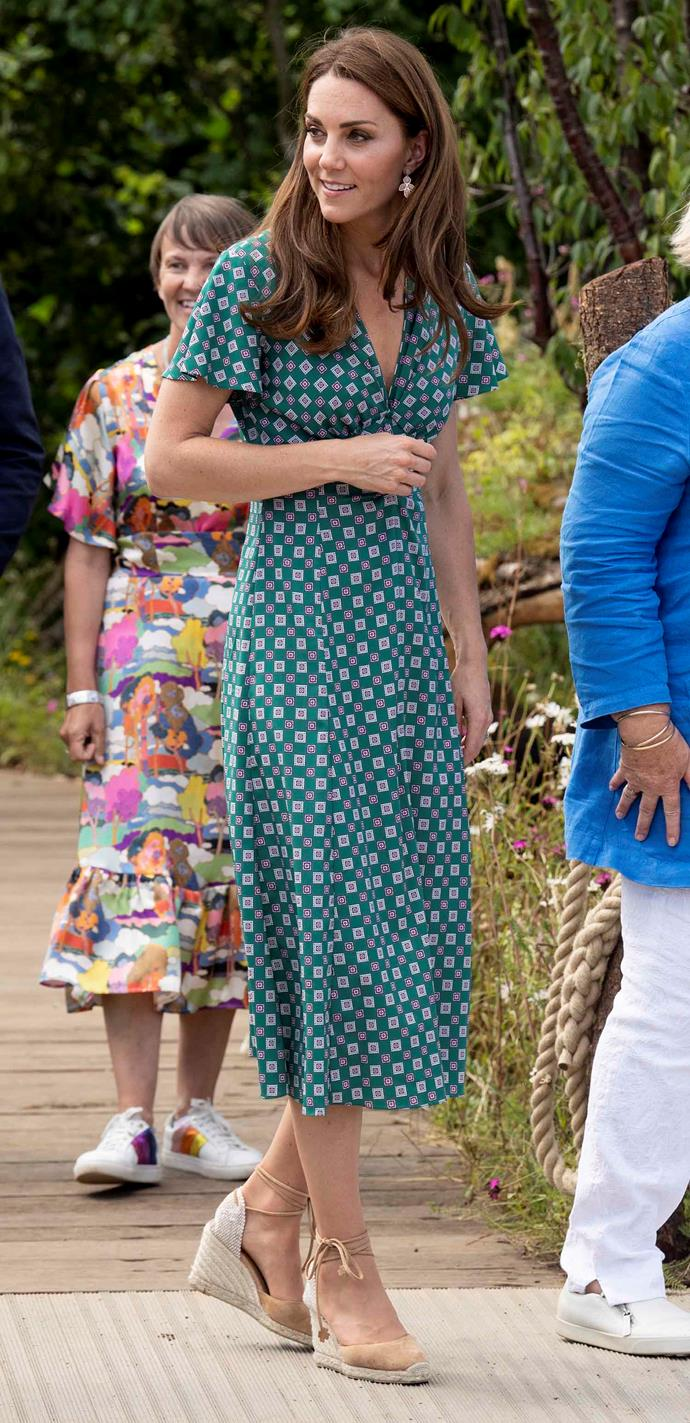 The Duchess was embracing the warmer months with her gorgeous summery ensemble. *(Image: Getty)*