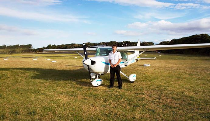 Happy landing – Ryan gets his private pilot's licence in 2011.
