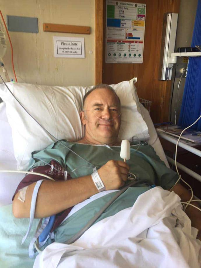 Craig at Palmerston North hospital the day after unsuccessful surgery to remove the tumour in his colon.