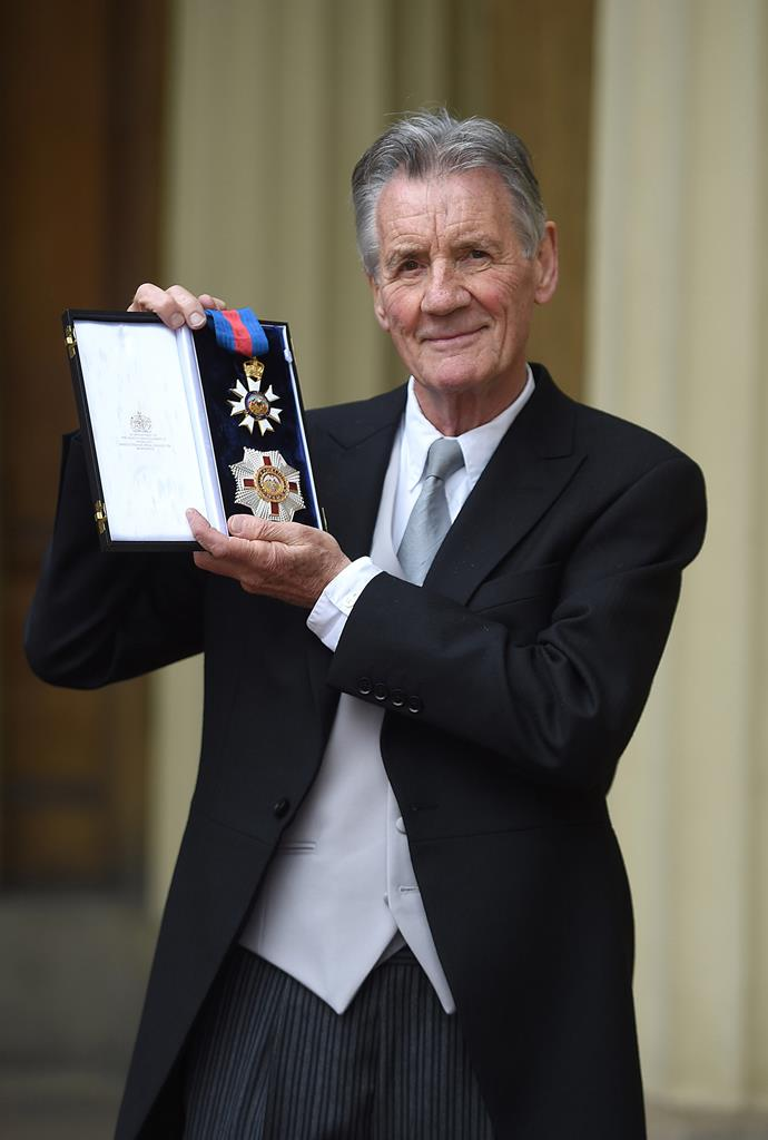 Writer, broadcaster and former *Monty Python*'s star Sir Michael Palin at his Investiture in June. *(Image: Getty)*