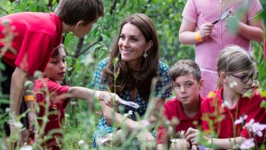 Duchess Catherine hosts a picnic and treasure hunt for children in her newly re-designed Back To Nature garden