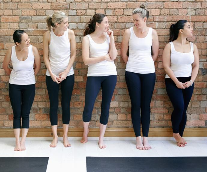 Women lined up to go yoga