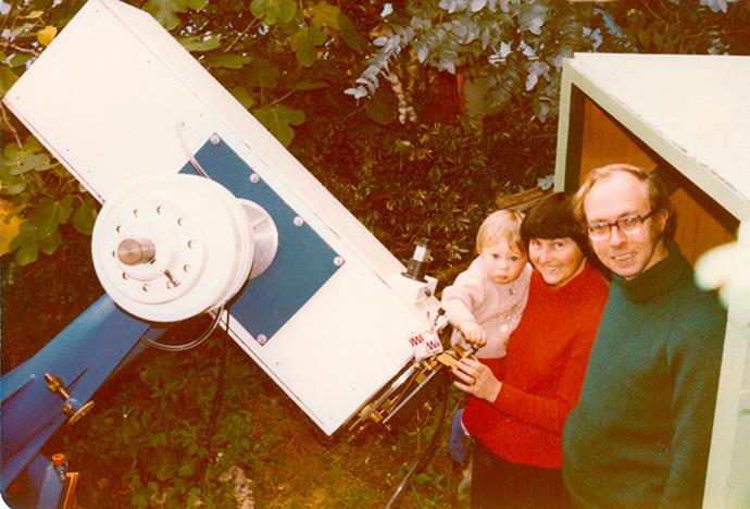 With Ned, the older of their two children, and their telescope in Wellington, 1989.