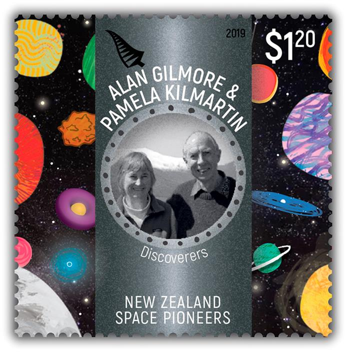 Pam and Alan have been immortalised in a set of postage stamps featuring Kiwi space pioneers
