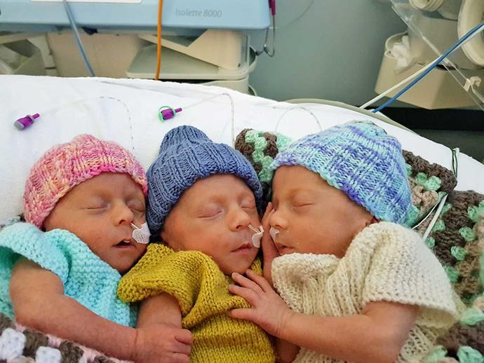 Three peas in a pod – in the neonatal unit after their dramatic delivery.