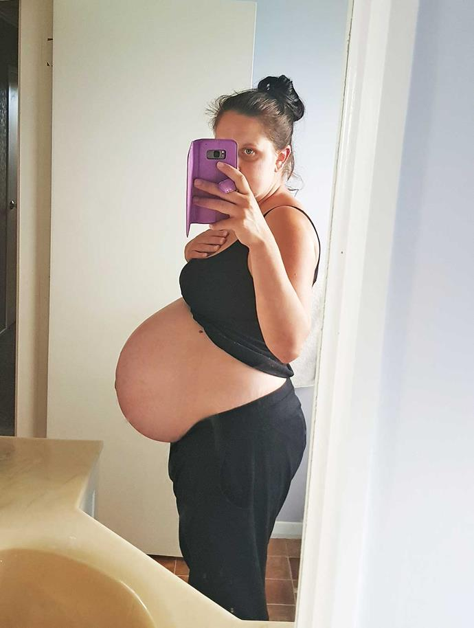 """Kasey three days before the triplets' arrival. """"I was very heavy and uncomfortable."""""""