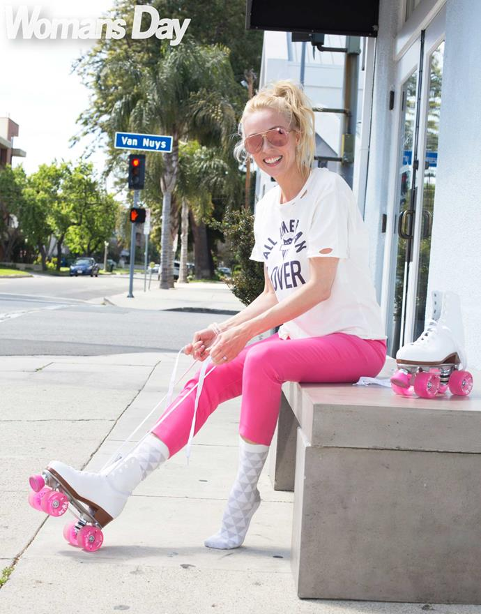 **5pm:** Strapping on her skates – a gift from husband Kevin – Camilla loves  getting outside for some fresh air and Californian sun.