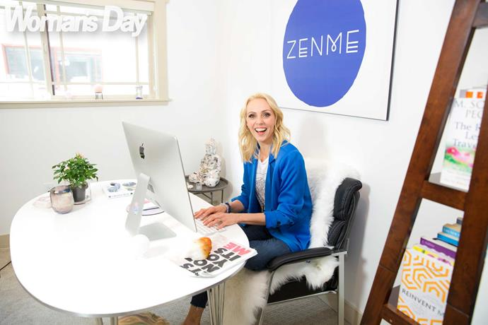 **8am:** Working hard at her coaching company, Zenme, which also offers hypnotherapy and meditation.