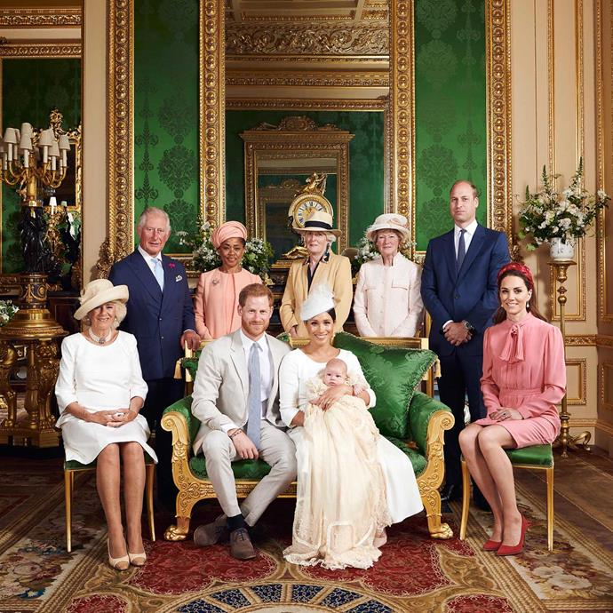 **Archie Harrison Mountbatten-Windsor, 2019** <br><br> Following Archie's private ceremony Harry and Meghan shared two images from the day, one intimate, black and white image of the family-of-three and the second, a more traditional group portrait of some of the closest members of their family.  <br><br> From left to right: The Duchess of Cornwall; Charles, Princes of Wales; Doria Ragland; The Duke of Sussex; Lady Jane Fellowes; The Duchess of Sussex; Master Archie; Lady Sarah McCorquodale; The Duke of Cambridge; The Duchess of Cambridge.  <br><br> *(Image: Chris Allerton / @SussexRoyal)*