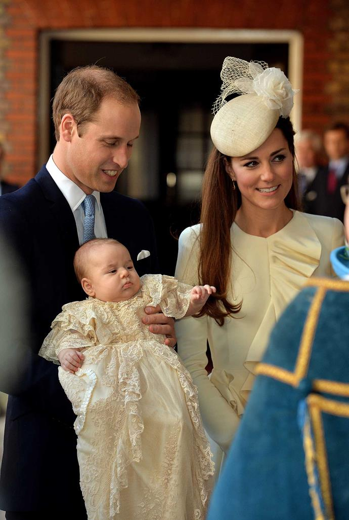 **Prince George of Cambridge, 2013** <br><br> The eldest of the Cambridge children, Prince George, was, like his younger brother, baptised at the Chapel Royal at St James' Palace on October 23rd, 2013. <br><br> The young royal donned the replica Honiton lace gown, while his mother looked gorgeous in an off-white Alexander McQueen ensemble. The first royal to wear the replica gown was Prince Edward's son James, Viscount Severn, with the last royal baby to wear the original, none other than his older sister Lady Louise Windsor.  <br><br> *(Image: Getty)*