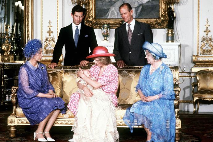 **Prince William of Wales, 1982** <br><br> He was born second in succession to the throne, and there he's remained. Prince William was baptised William Arthur Philip Louis in the Music Room of Buckingham Palace on the birthday of his great grandmother, The Queen Mother, on August 4th, 1982. <br><br> Here he's pictured in the Music Room cradled on 21-year-old Princess Diana's knee, while his paternal grandparents, father and great-grandmother look on adoringly. <br><br> *(Image: Getty)*