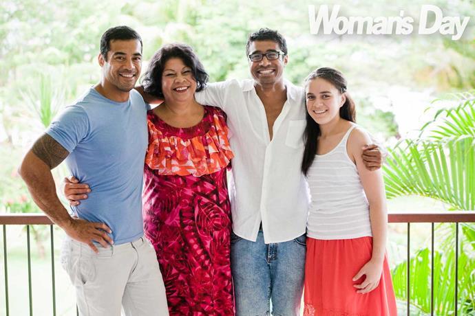 Robbie, left, with mum Salafa, Pua and sister Trina.