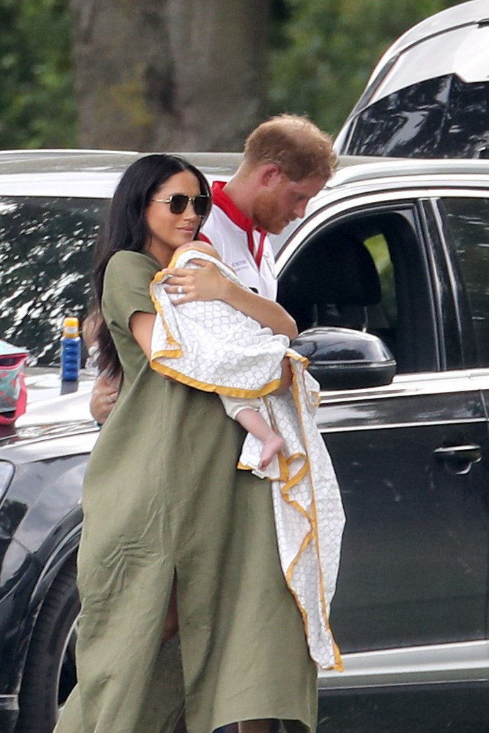 Meghan reportedly cradled Archie most of the time, and he was apparently on his best behaviour during the entire lunch. *(Image: Getty)*