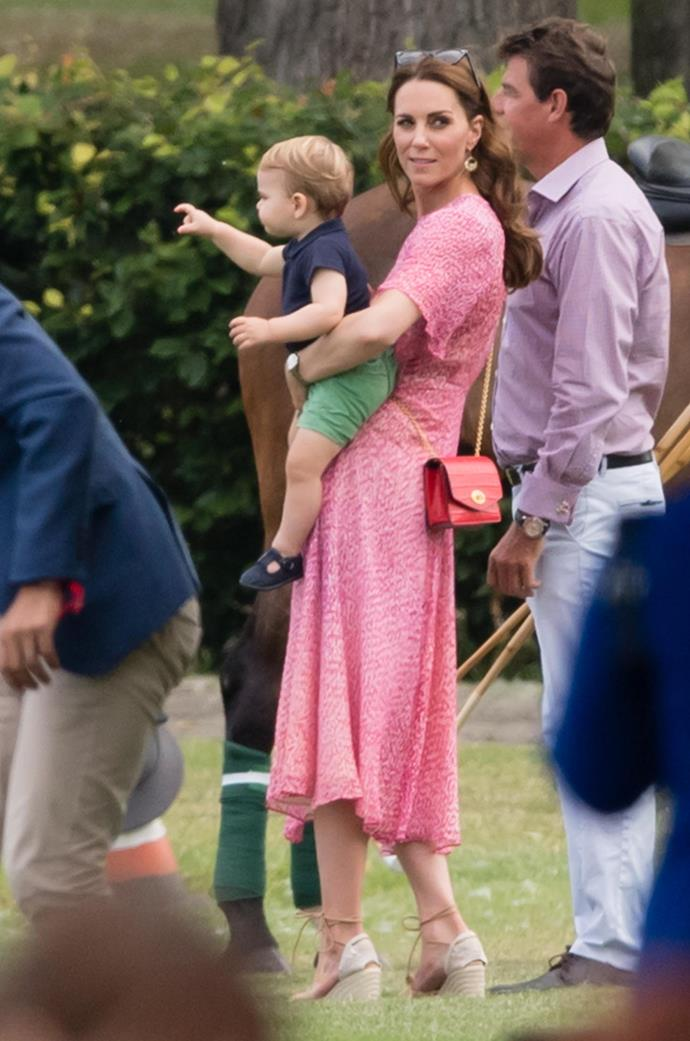 Kate looked gorgeously summery in a flowing pink dress by L.K.Bennett. *(Image: Getty)*
