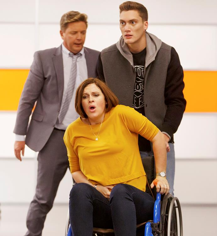 Laurel's birthing experience on Shortland Street (with co-stars Michael Galvin, left,  and Reuben Milner) was full of drama – and then her real labour didn't go to plan either!
