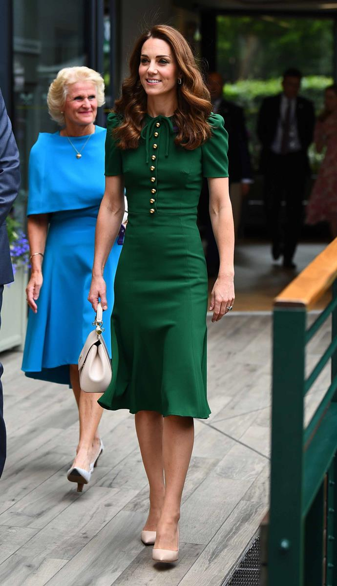 Kate re-wore her gorgeous custom made Dolce & Gabbana dress to day 12 of the Wimbledon Championships. *(Image: Getty)*