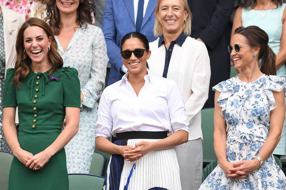 Royal mum's day out! Kate, Meghan and Pippa were all smiles at the Ladies' Singles Finals on Saturday. *(Image: Getty)*