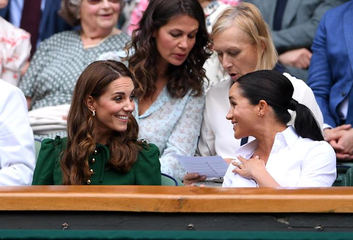 What feud? There were no signs of tension between the two sisters-in-law at Saturdays match. *(Image: Getty)*
