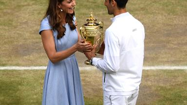 Duchess Catherine returns to Wimbledon to present Novak Djokovic with his winning trophy