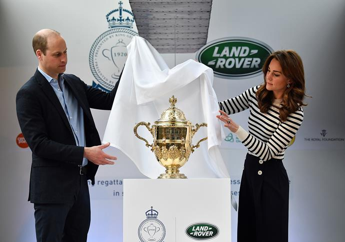 The Duke and Duchess of Cambridge unveiling the historic King's Cup during the launch of the King's Cup Regatta. *(Image: Getty)*