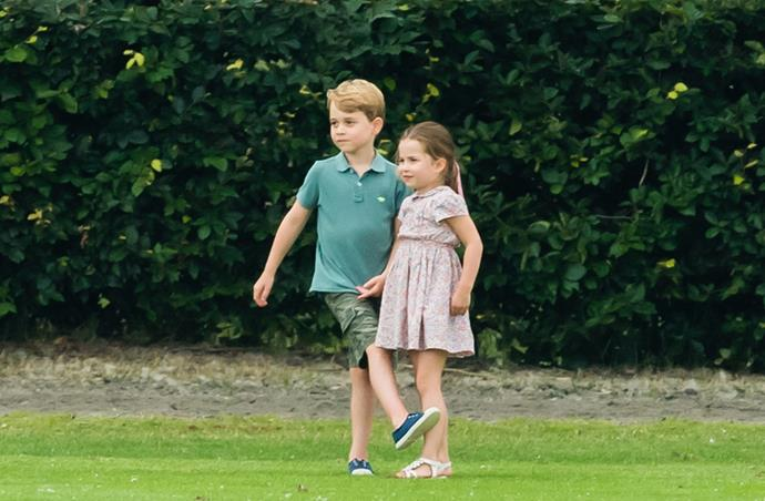 Prince George and Charlotte at the charity polo match last week. *(Image: Getty)*