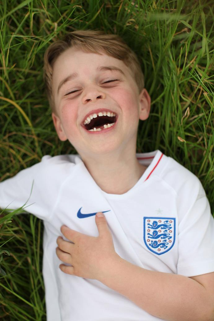 Cracking a toothy grin, the Prince is clearly a fan of football, just like his father! *(Image: The Duchess of Cambridge)*