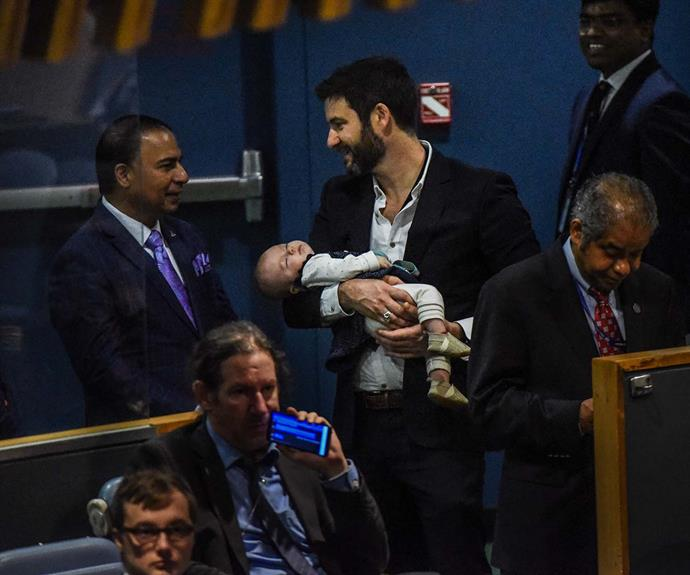 Clarke Gayford cradles a sleeping four-month-old Neve at the United Nations General Assembly in 2018.