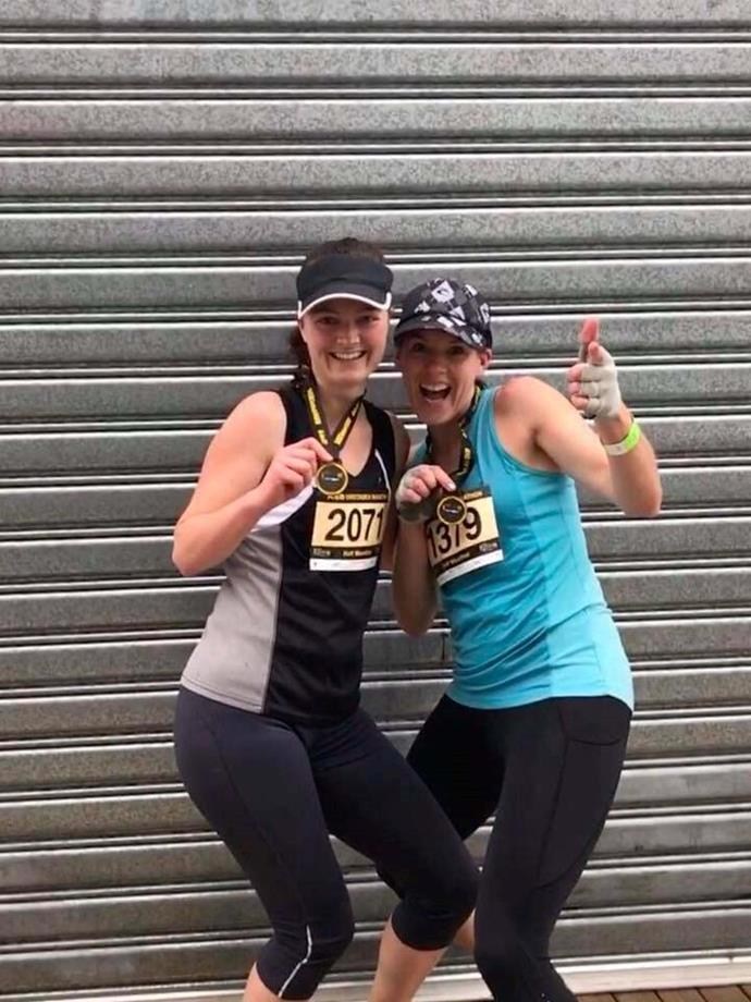 Helena, right, jubilant after completing the half marathon that set her back on her course as a top-performing sprinter.