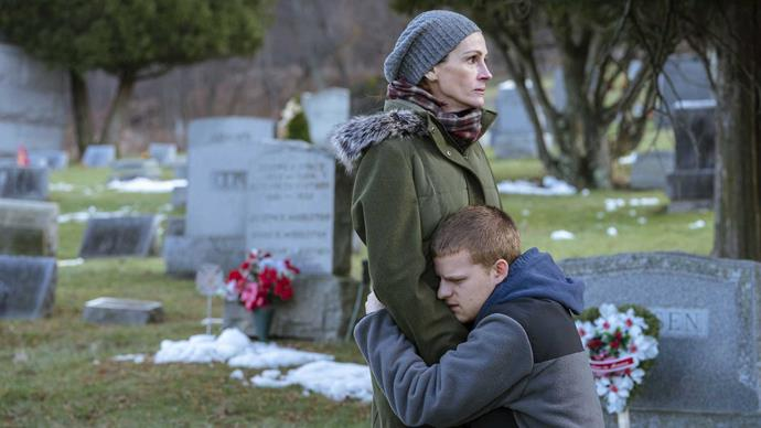 Julia in *Ben is Back* with Lucas Hedges