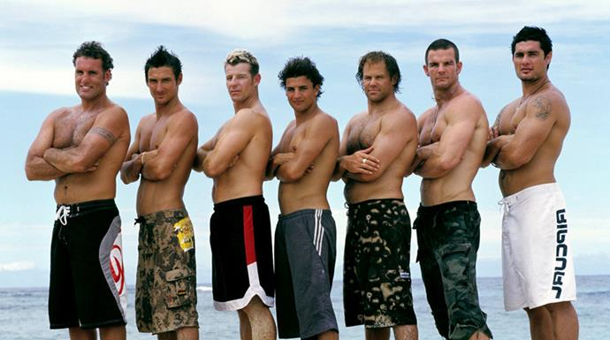 The men of season three, with Simon Barnett third from left rocking some very questionable frosted tips. *Image: Supplied*