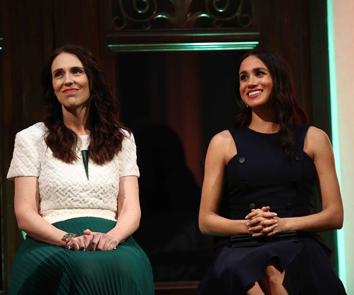PM Jacinda Ardern and Duchess Meghan in Auckland last year. *(Image: Getty)*