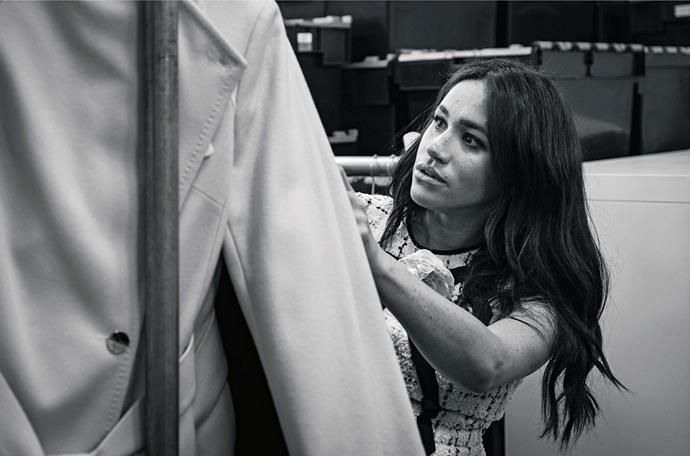 This behind-the-scenes photo was released to coincide with the announcement that Meghan has guest edited British Vogue. *(Image: Sussex Royal)*