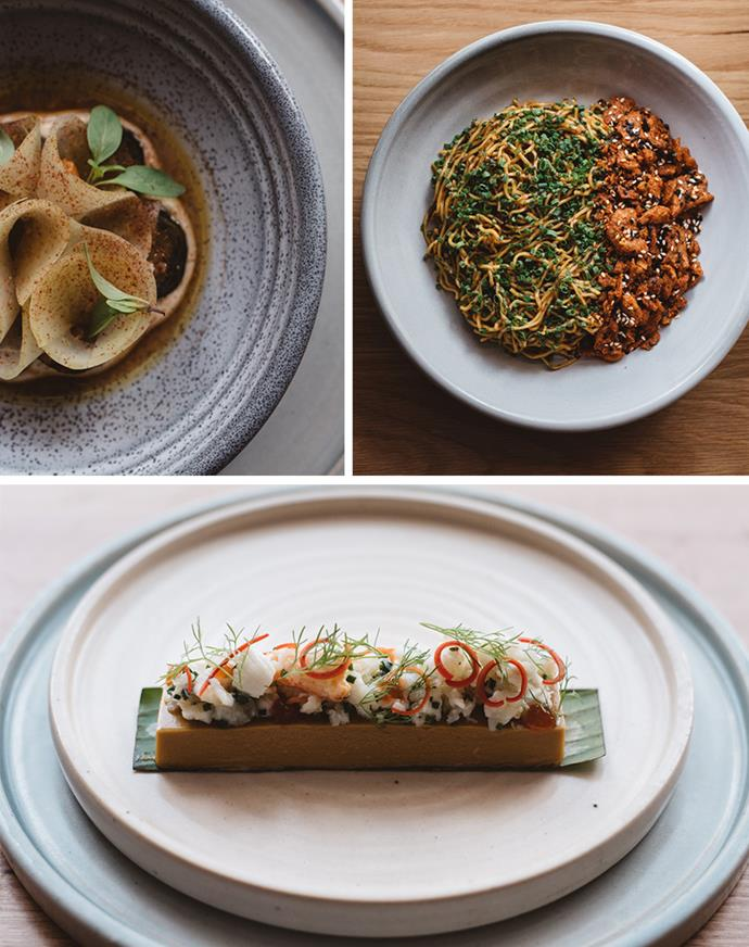 Anti-clockwise from top left: charred cucumber, laughing cow cheese, jungle curry and lemon myrtle; egg noodles, XO sauce, chicken crackling and pepperberry; 'otak otak', spanner crab curry, finger lime and rice crisps (not pictured). All from Sunda, Melbourne. *(Images: Supplied)*