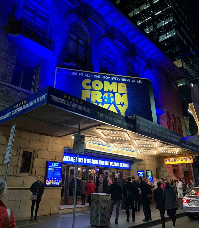 The exterior of the Comedy Theatre, ahead of watching *Come From Away*. *(Image: Supplied)*