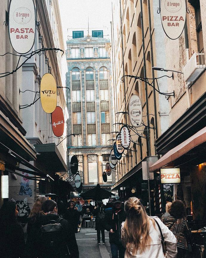 Degraves Street looking down to the neo-Romanesque Majorca Building. *(Image: Anya Truong-George)*