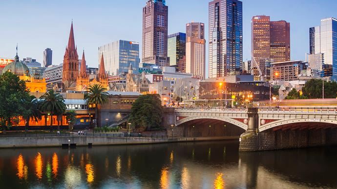 melbourne city australia at dusk