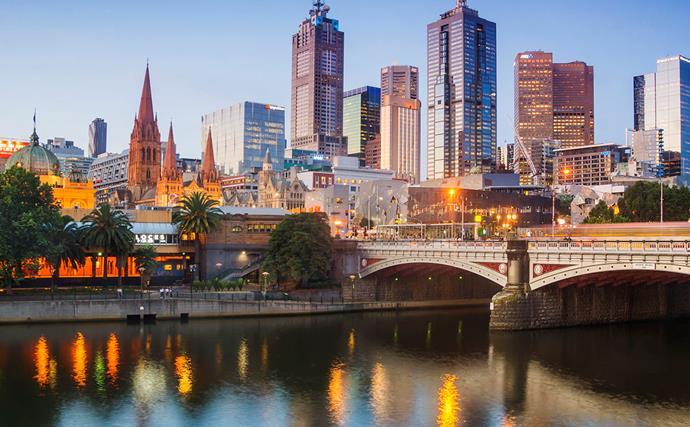melbourne city australia at dusk