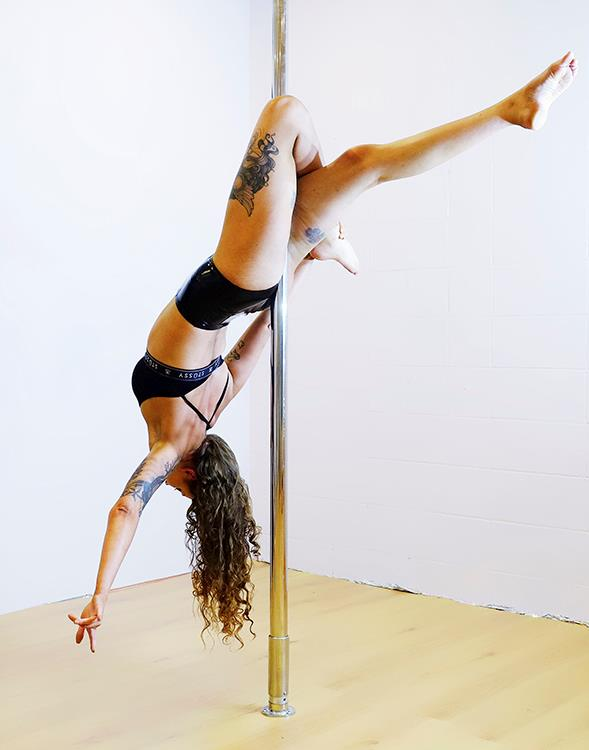 Kindy teacher Hanna keeps herself strong through pole dancing. *Image: Alexa Shaw*