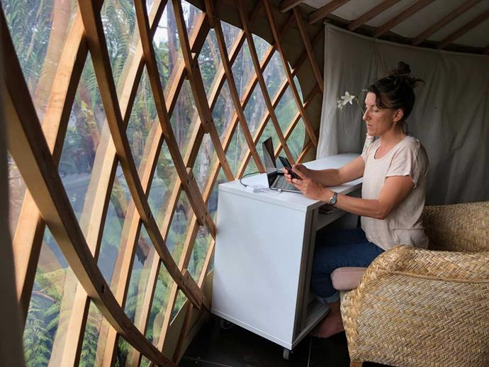 Sam Rodney-Hudson is able to work from her yurt nestled in bush on Great Barrier Island.