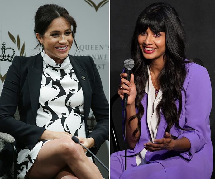 Actress Jameela Jamil jokes she wanted to punch herself after finding out her three missed calls were from the Duchess of Sussex! *(Images: Getty)*