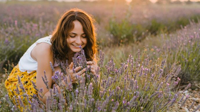 woman smelling lavender in field