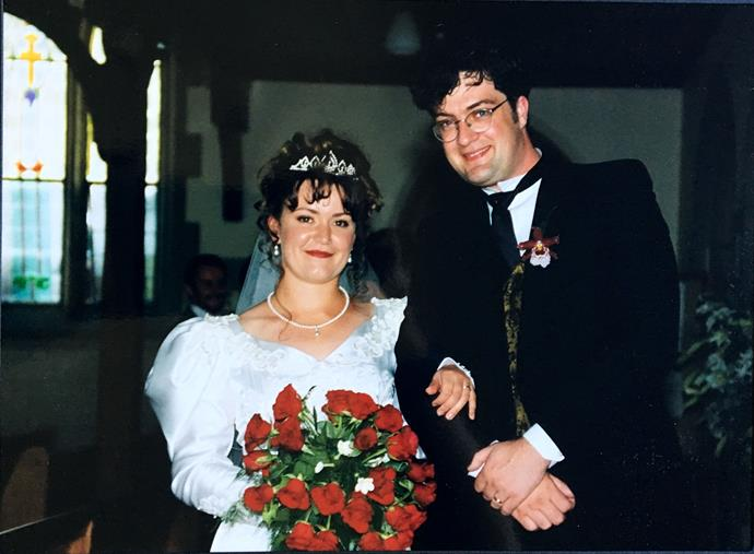 Katherine and David on their wedding day 24 years ago.