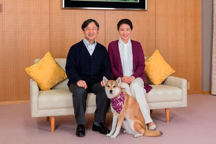 Emperor Naruhito and Empress Masako with their dog, Yuri. *(Image: Getty)*