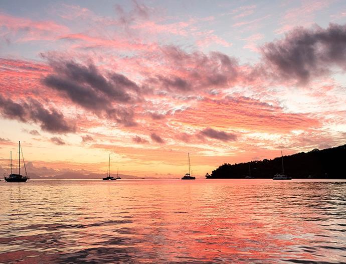 Sunset at Relais Mahana resort on Huahine.