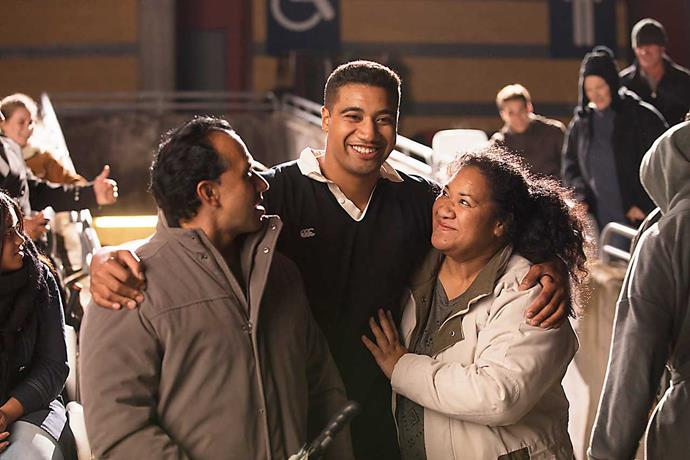 Mosese as Jonah, along with his on-screen parents, played by Michael Koloi and Sesilia Pusiaki.