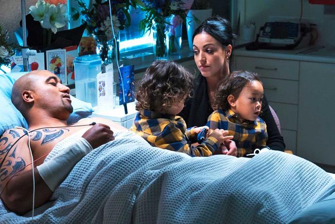 With Nadene (Jacqui Nauman) and sons Brayley and Dhyreille (Mahia Mokaraka and Jayden Richardson).