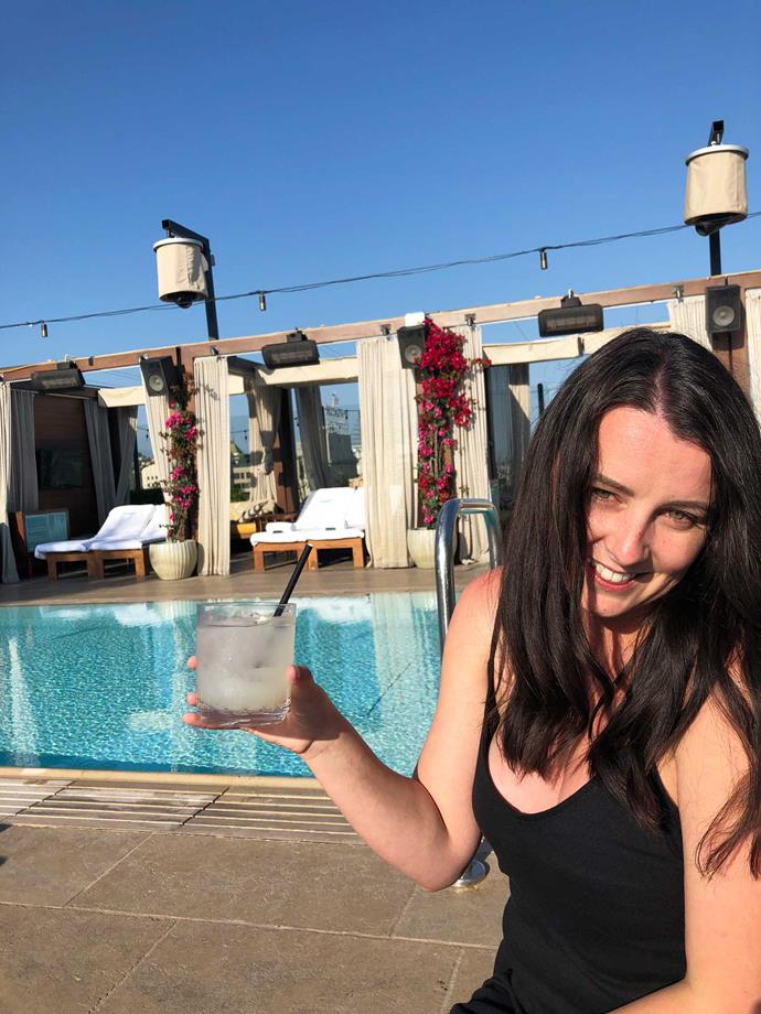 Sipping cocktails and soaking up the sun by the rooftop pool at Dream Hotel Hollywood.