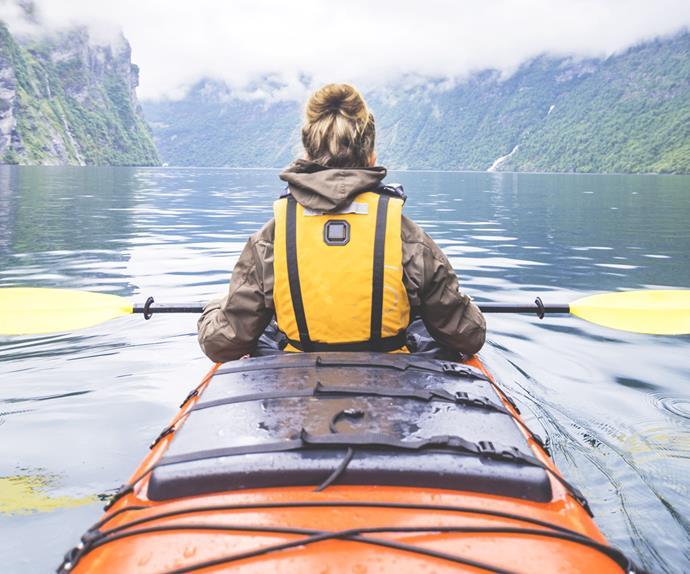 Kayaking in mountains