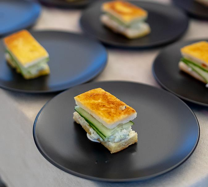 Masterchef alum Matt Sinclair served up spanner crab and cucumber toasties.    *All images: Krista Eppelstein*